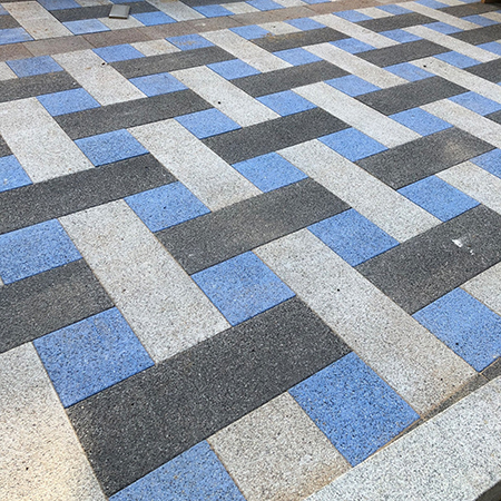 Blue textured Andover block paving enhances town centre
