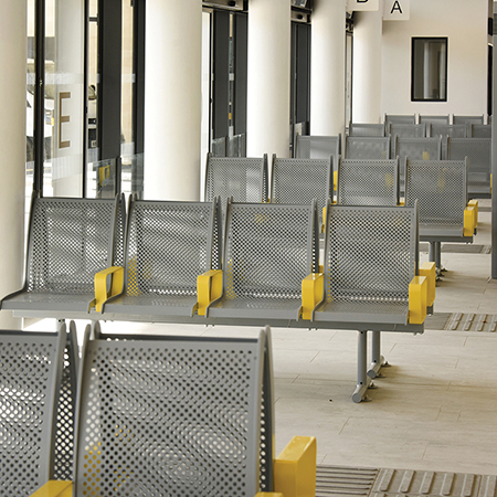 Unique Broxap seating and litter bins for airport-style transport hub