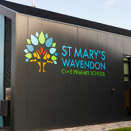 Internal and external signage for St Mary's Wavendon C of E school