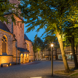 Church square is illuminated with Lif