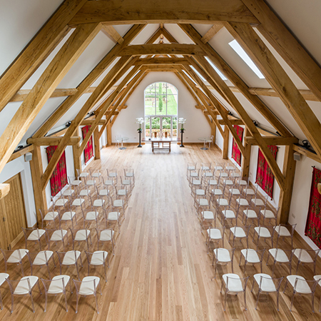 Solid wood flooring with fitted underfloor heating for luxury wedding venue