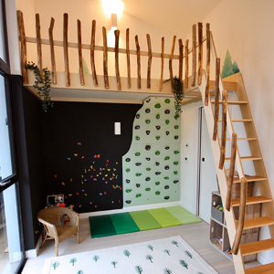Hidden climbing wall will provide non-stop playroom fun