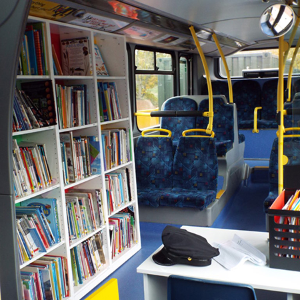 Witley Jones created a dedicated library space from a double decker bus