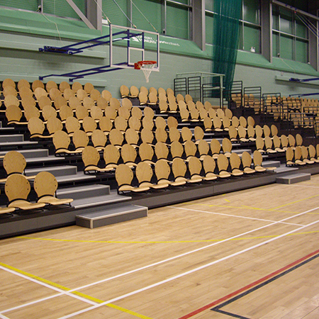 Retractable spectator seating at the Lagoon Leisure Centre