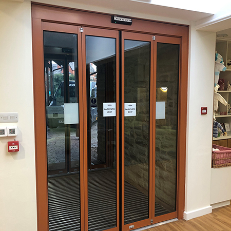 Compact TORMAX automatic entrance for hospice refurbishment