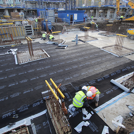 Watertight floor slab at Aberfeldy Village
