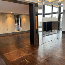 Feature solid wood floor with timeless design for London Penthouse