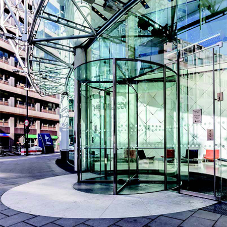 Bespoke fully glaze revolving doors have been installed at The Helicon