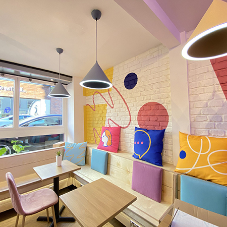Bright Social Space with London Brick