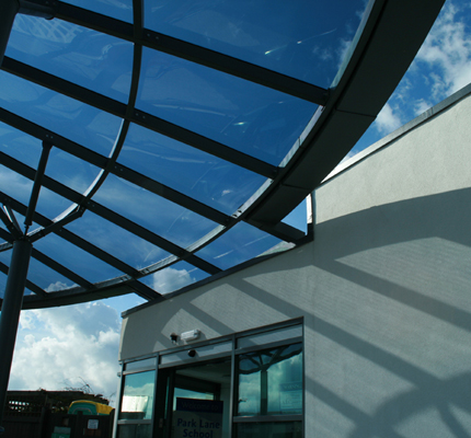 Entrance to Park Lane School sheltered by ADI canopy