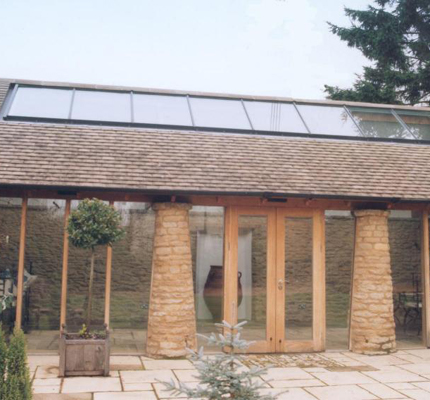 External view of rooflights in barn conversion