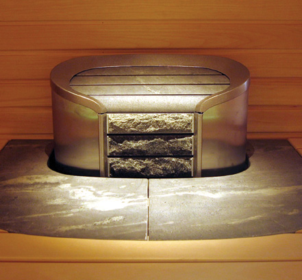 Cava heater with soapstone fascia and rock store