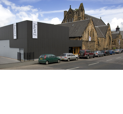 Black fibre cement Textura cladding panels used at Destiny Church, Glasgow