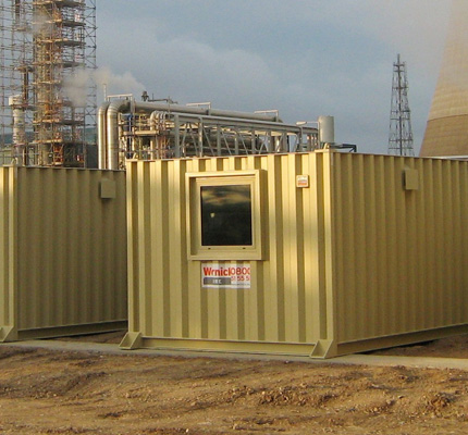 Some of the blast resistant units on hire from Wernick Hire at BP's Saltend Plant