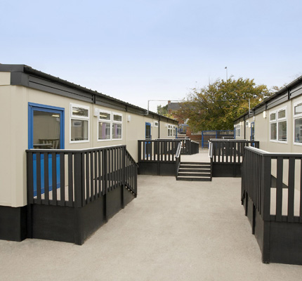 Two of the double classroom blocks on hire to Rhoose Primary School.