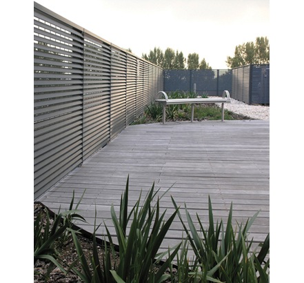 Talia®80 steel louvred balustrading for roof-top garden