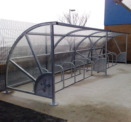 The cycle shelters provide parking for 80 bicycles