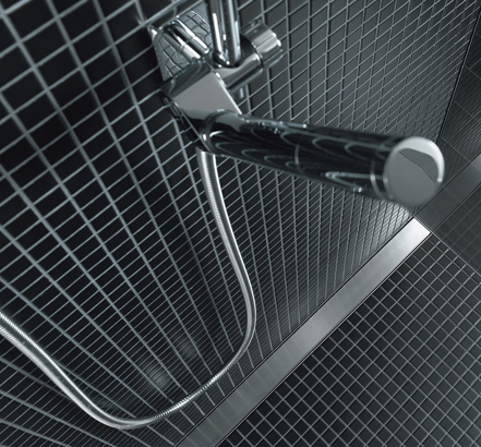 Shower positioned above a Uniflex shower channel