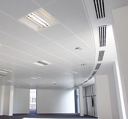 Th clip-in ceiling tiles were coated with Biocote