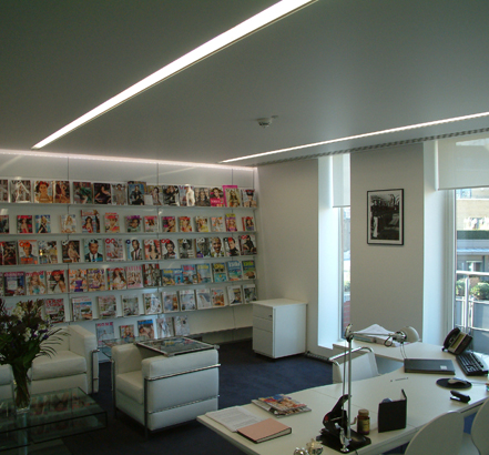 Matt White Micro Acoustic finish used on suspended ceilings at Condé Nast
