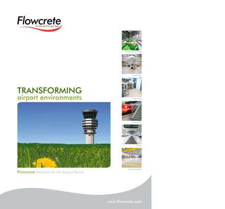 Front cover of the new Flowcrete brochure aimed at the airport sector