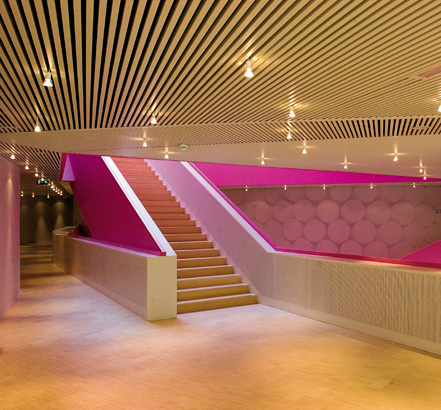 The horizontal and vertical lining of Luxalon combined with the Pink balustrade accentuates the desired effect