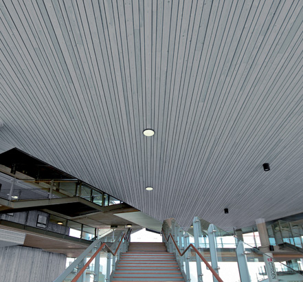 'Tones Ceilings are available in 16 colours and a range of wood species
