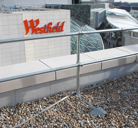 Full roof edge protection provided to entire shopping centre roof areas