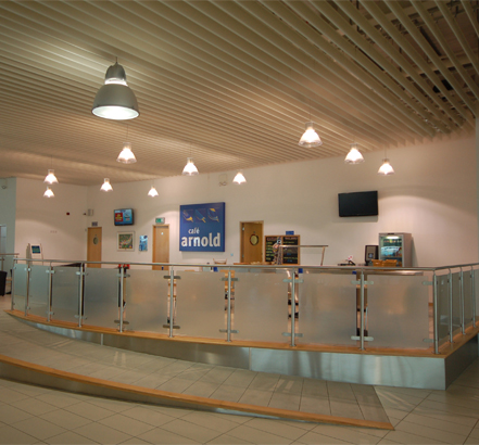 Arnold Clark cafe in Stafford makes use of the Luxalon V200 ceiling system
