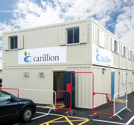 Wernick Hire's anti-vandal AVflex building at Carillion's Bulwell Academy site in Nottingham