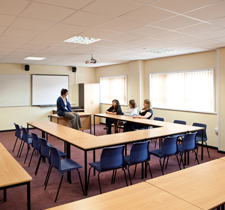 Classroom in the modular building supplied by Wernick
