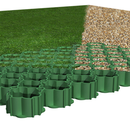 The open structure of ACO GroundGuard<sup>®</sup> allows water to quickly penetrate through the honeycomb to the underlying top soil