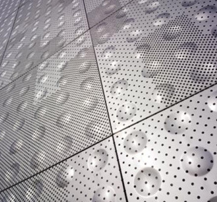 Perforated, stainless-steel cladding