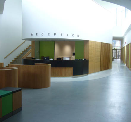300 sq m of Flowfast Quartz, installed in the reception area of a pet hospital at the University of Glasgow