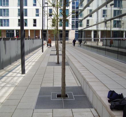 ACO installed a series of stainless-steel tree grilles