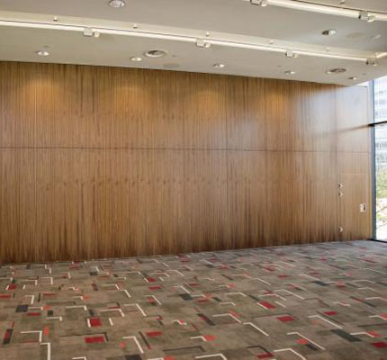 Movable walls in American Black walnut, installed at the Hilton Hotel in Liverpool