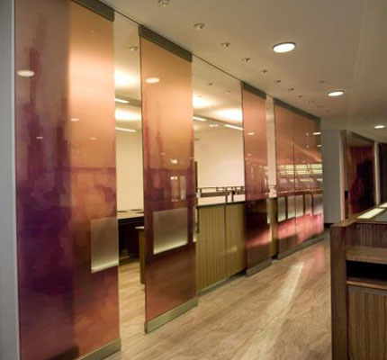 Glassplan 500 sliding glass walls in-situ at the Hilton, Liverpool
