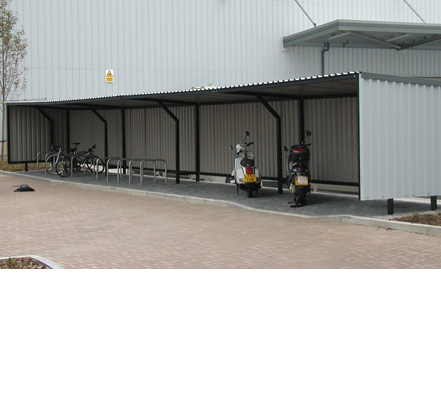 All the shelters were fitted with surface-mounted Sheffield cycle stands