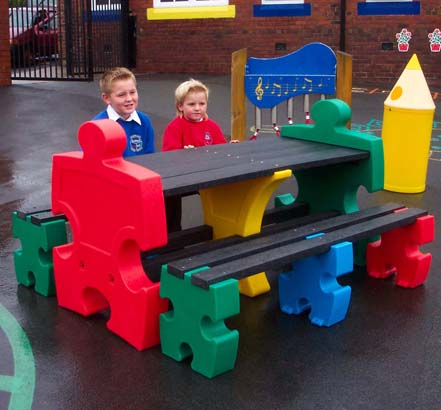 The Jigsaw Picnic Table is suitable for primary school children