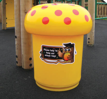 Themed bins can be personalised with school badges or school logos or even the children's own designs