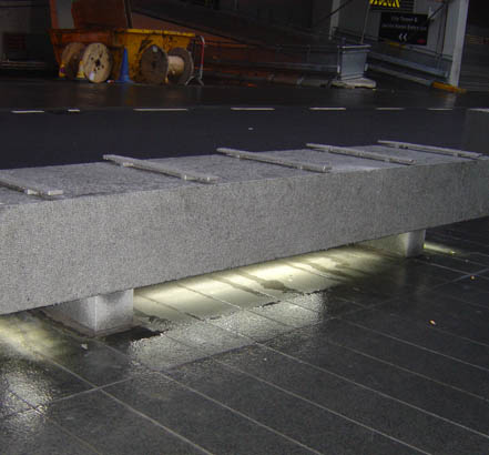 The granite benches provided by Bailey Streetscene were made bespoke for the project