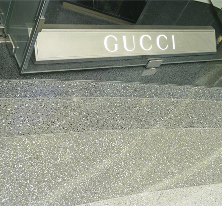 Flowcrete's decorative seamless terrazzo flooring, Mondéco, in-situ outside Gucci at Westfields, London