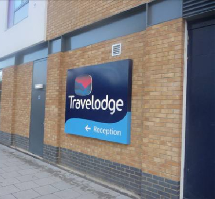 Steel doors, Travelodge, Farnborough