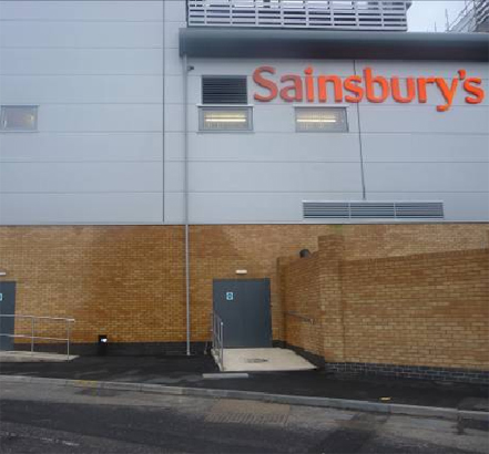 Steel doors, Sainsbury's, Farnborough