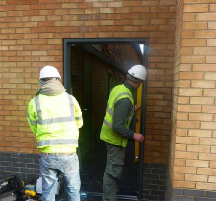 Steel doors during installation