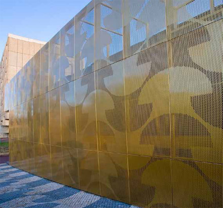 Perforated aluminium cladding, Gold finish