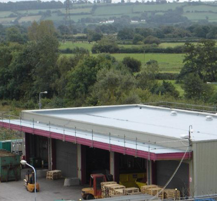 Rhepanol fk roof membranes installed at the Bosch Alternator Manufacturing Plant in Cardiff
