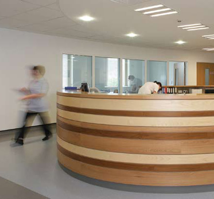 Reception area at Alltwen Community Hospital makes use of Noraplan<sup>®</sup> signa flooring