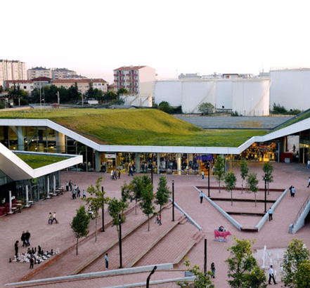 54,000sq m of Rhepanol hg waterproofs and provides root resistance to the largest green roof in the world at Meydan Shopping Centre, Istanbul.  Some 35,000sq m of flat and sloping roofs were planted with vegetation at up to 70° pitch. The remaining 20,000sqm is gravelled as a public space.