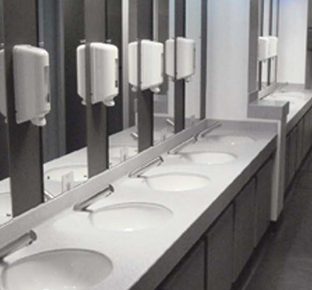 Vanity units from Armitage Venesta help to renovate the washroom facilities at Prestwick Airport